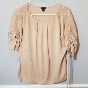 Tan Ann Taylor Petite Ruched Quarter Sleeve Blouse